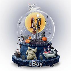 DISNEY Tim Burton NIGHTMARE BEFORE CHRISTMAS Rotating MUSICAL Glitter Globe NEW