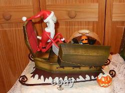 Disney Nightmare Before Christmas SANTA JACK SLEIGH MUSICAL SNOWGLOBE BLOWER NIB