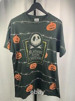 Disney Tim Burton Nightmare Before Christmas Vintage 90s Thrashed T Shirt L