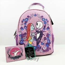 Loungefly Disney Nightmare Before Christmas Floral Mini Backpack and Cardholder