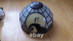 NECA Disney Nightmare Before Christmas Jack, Sally and Zero Tiffany Style Lamp