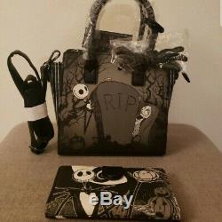 NEW! Disney Nightmare Before Christmas Loungefly Jack & Sally Purse/Wallet Set
