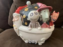 Nightmare Before Christmas Ceramic Cookie Jar Sandy Claws with Lock Shock & Barrel