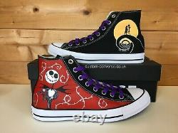 Nightmare Before Christmas UK 7.5 Black High Top Converse Trainers