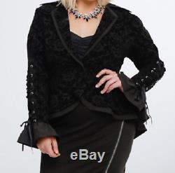 Torrid Nightmare Before Christmas velvet flocked long sleeve lace up jacket 2X