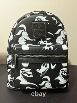 Zero Nightmare Before Christmas Black AOP Disney Loungefly Bag Mini Backpack